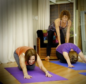 Yoga and pilates group class